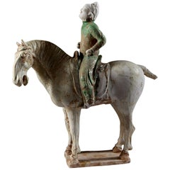 Chinese Green Glaze Tang Dynasty Polo Player, Pottery, Ceramic, Biscuit Clay