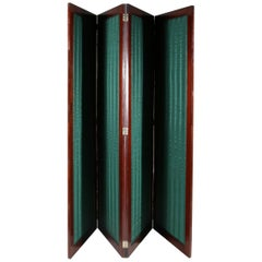Regency Four Fold Mahogany Room Divider, Privacy Screen