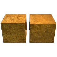 Pair of Burled Wood End Tables in the Style of Milo Baughman