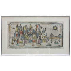 Irving Amen New York Skyline Color Etching