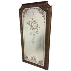 A Gilt Mirror from the Royal Albert Hall London Engraved with a French Horn