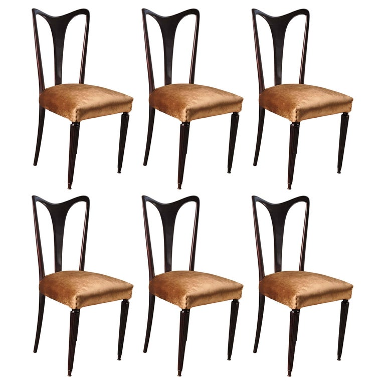 Guglielmo Ulrich, Six Sculptural Dining Chairs, Shiny Finish, Velvet, 1940s