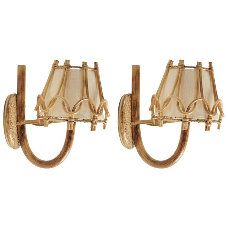 1950 Pair of Rattan Sconces Attributed to Louis Sognot