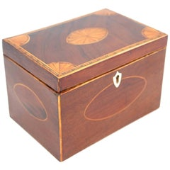 18th Century Mahogany Tea Caddy with Inlaid Top