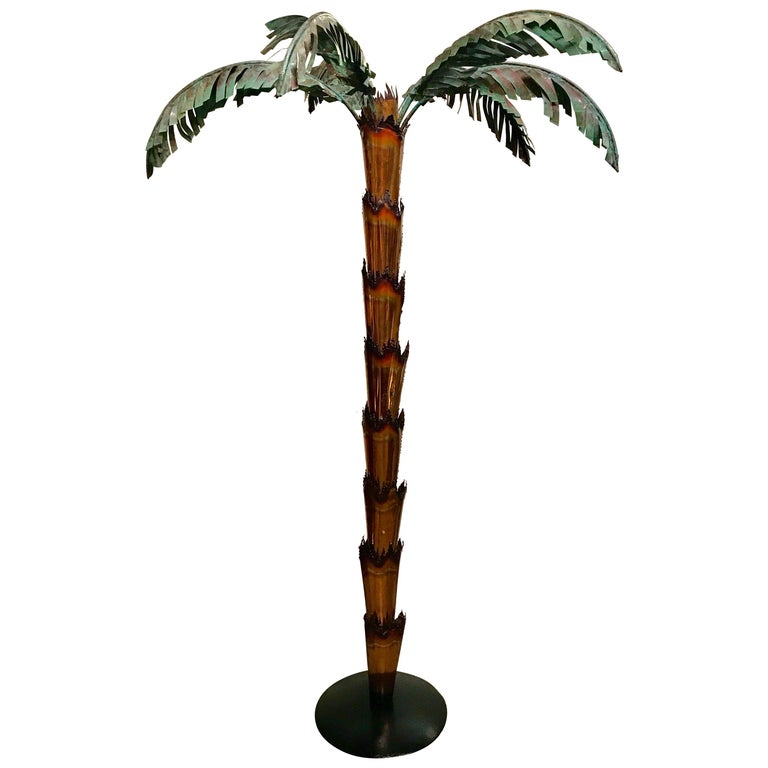 Extraordinary Midcentury Forged Copper Palm Tree Floor Lamp For