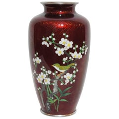 Japanese Flower and Bird Painting on Cloisonné Red Vase, 1950s