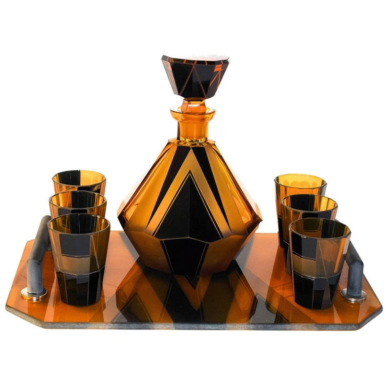 1930s Art Deco Glass Decanter Set For Sale