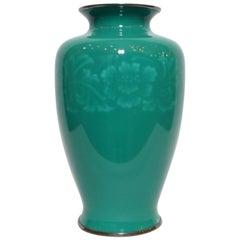 20th Century Japanese Cloisonné Green Vase