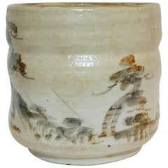 Japanese paysage on White Beige Ceramic  Shino Ware Cachepots, 1950s