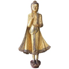 Buddha Statue Mandalay Period Burma, 19th Century Certified Gold