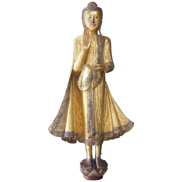 Buddha Statue Mandalay Period Burma, 19th Century Certified Gold