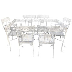 Klismos Patio Dining Set, Greek Key Motif, Attributed to Salterini, Restored