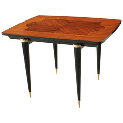 French Art Deco Exotic Macassar Ebony Center Table or Dining Table, circa 1940s