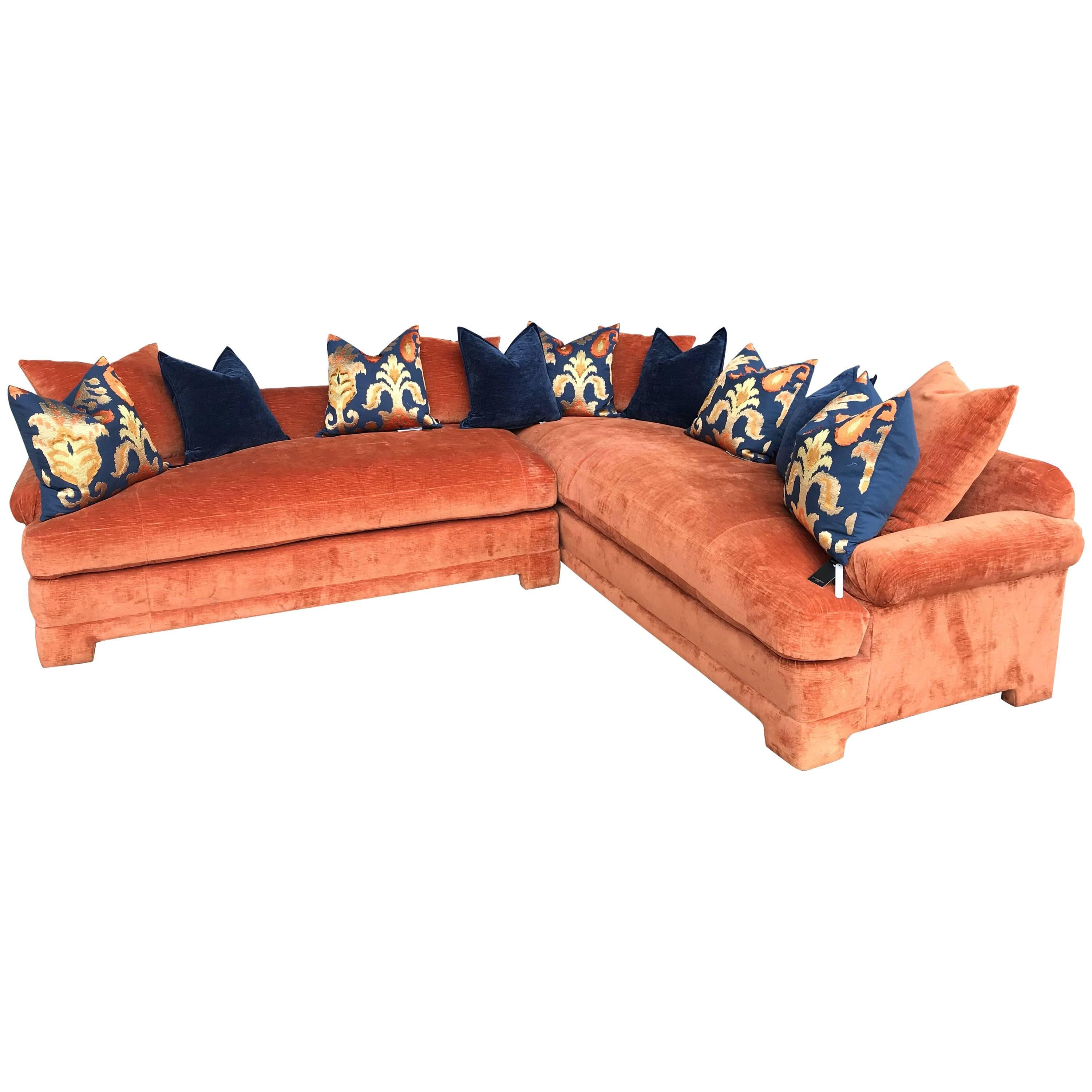 Vintage Marge Carson Hollywood Regency Style Velvet Sectional Sofa For Sale