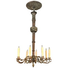 Antique Italian Carved Polychromed Wood and Iron Eight-Light Chandelier