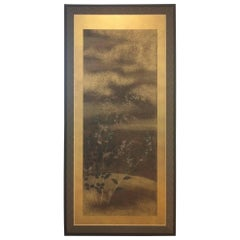 Screen Painting Blue Gold Plants Flowers Framed Rinpa Japan 18th Century
