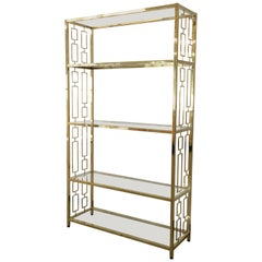 Extra Tall & Wide Hollywood Regency Brass & Glass Geometric Etageres