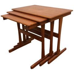 Set of Three Danish Modern Teak Nesting Tables by Arne Wahl Iversen