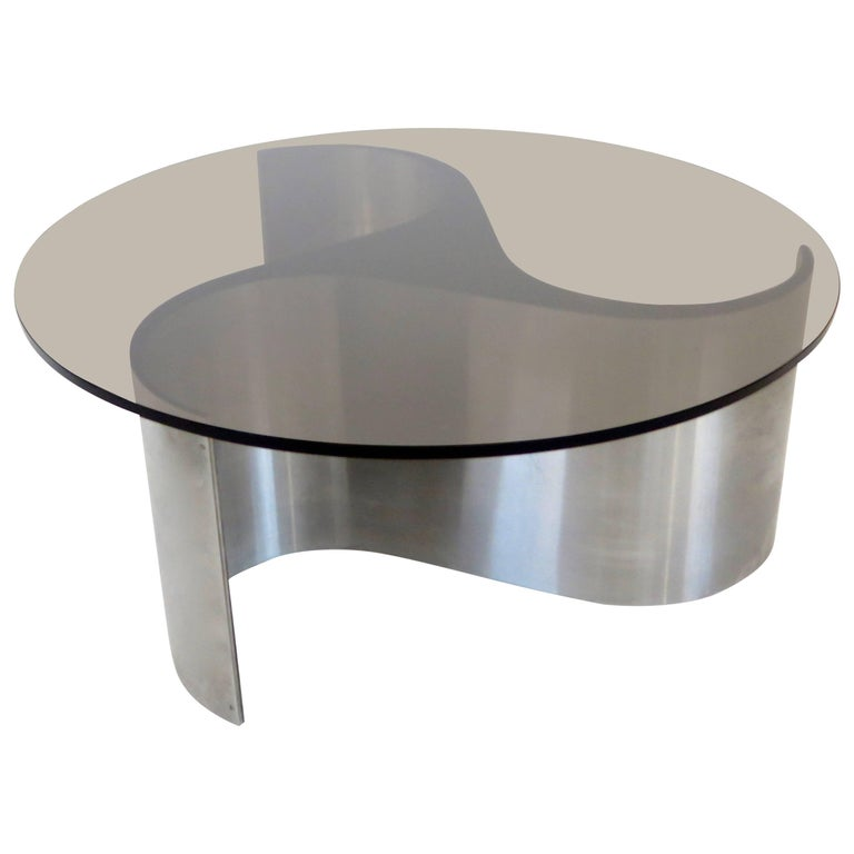 French Coffee or Side Table by Patrice Maffei Model Comete in Stainless Steel
