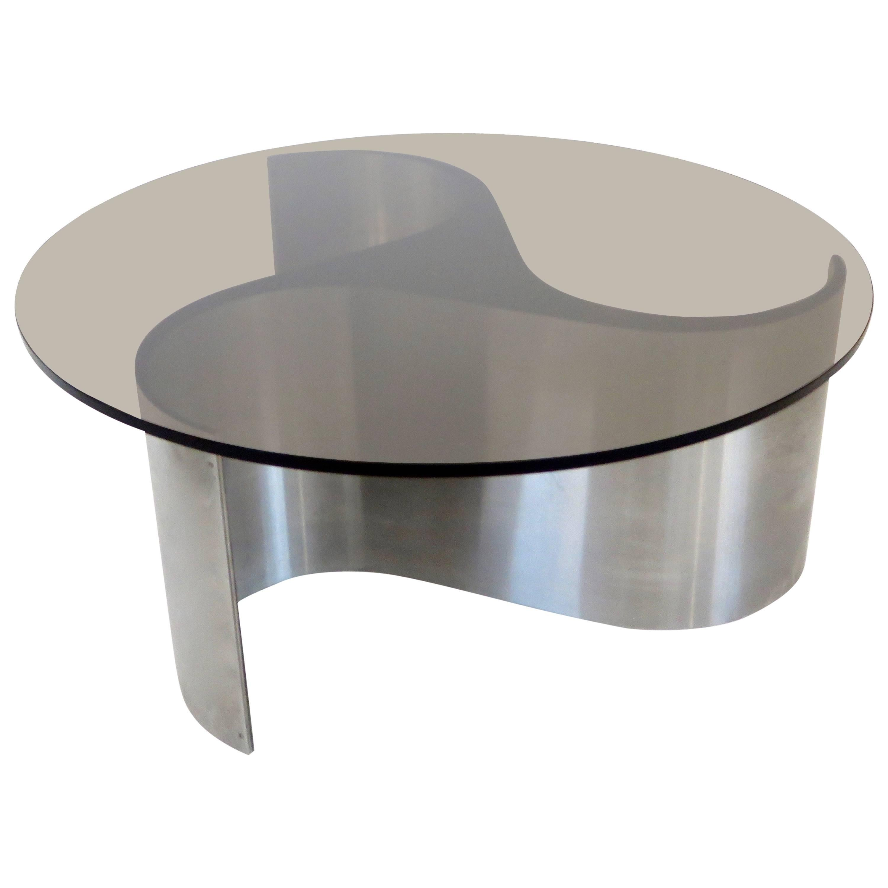French Coffee Or Side Table By Patrice Maffei Model Comete In Stainless  Steel For Sale