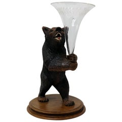 Wooden Carved Bear with Engraved Glass Vase Made in Brienz Switzerland