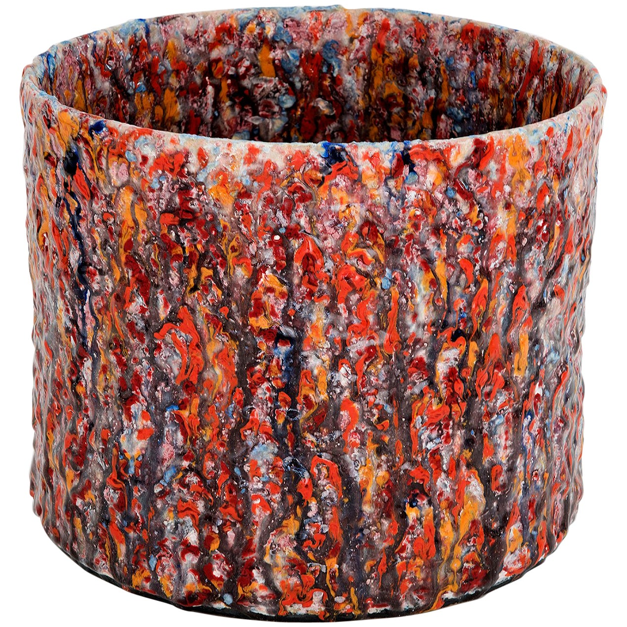 "Contemporary Red Textured Ceramic Vase Model ""#1914"" by Morten Løbner Espersen"
