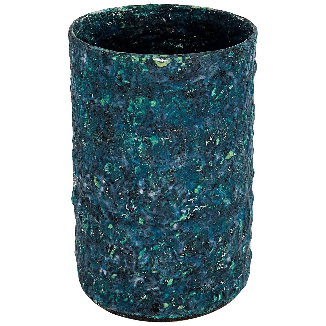 """Morten Løbner Espersen Contemporary Dark Green Blue Ceramic Vase Model """"#1855"""""""