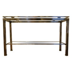 Guy Lefevre, 1970 Stainless Steel Console with Double Tops for Maison Jansen
