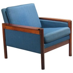 Danish Rosewood Armchair with Blue Textile