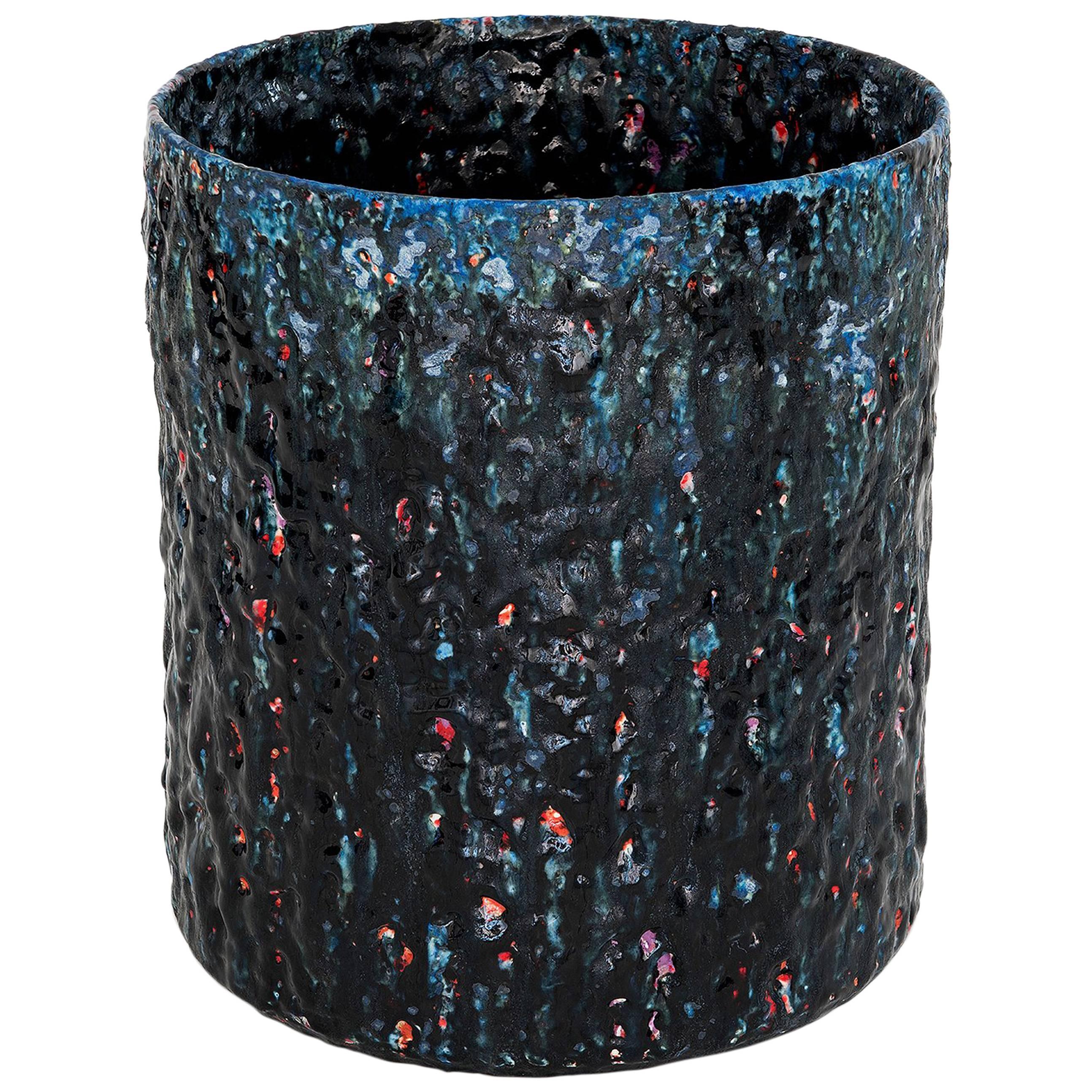 "Ceramic Vase Model ""#1855"" by Morten Løbner Espersen Dark Blue Light Blue Red"