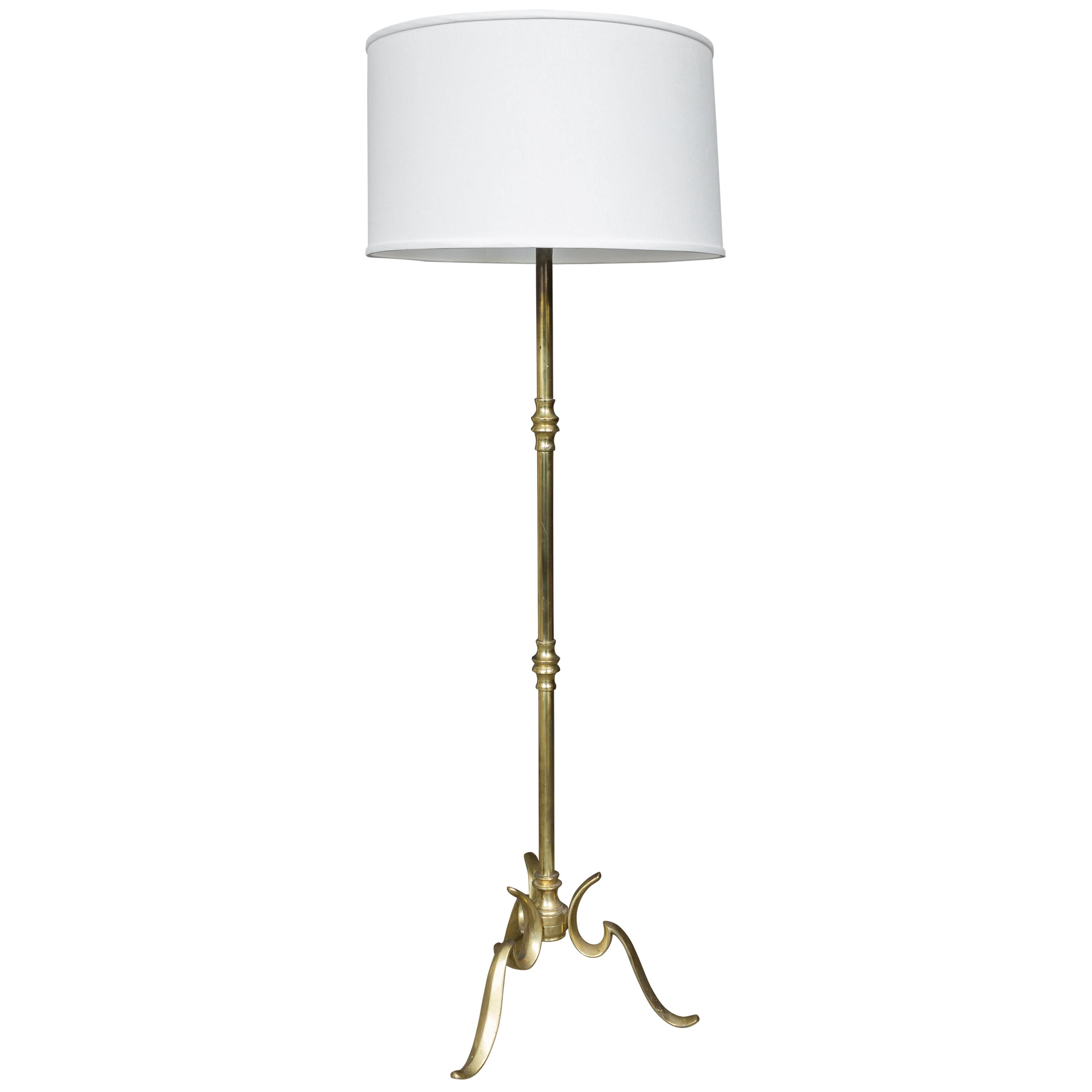 Brass Floor Lamp with a Cast Tripod Base
