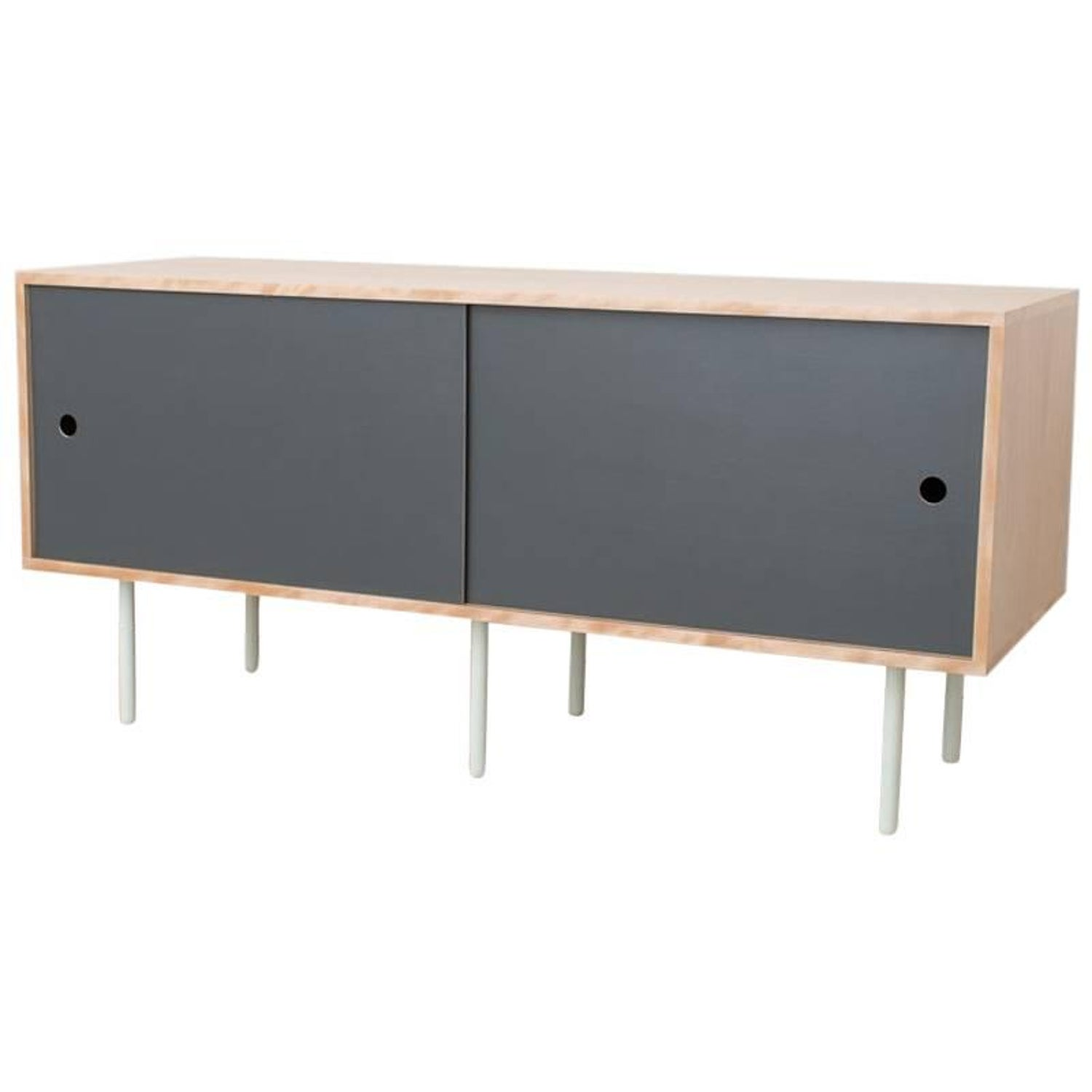 Basic Bitch Contemporary Birch Credenza Sideboard Gray Laminate Sliders