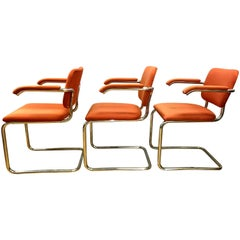 Set of Three Midcentury Knoll Chrome Cantilever Chairs