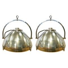Pair of Industrial Mid Century Hanging Pendant Light Fixtures Lighting