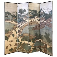 Vintage Chinese Hand Painted Silver Leaf Folding Screen Room Divider