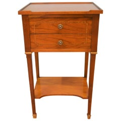 Louis XVI Style Mahogany Side Table with Two Drawers and Bottom Shelf