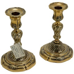 19th Century Silver Gilded Pair of Candlesticks by Odiot