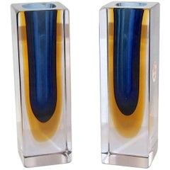 Pair of Flavio Poli Seguso Murano Glass Vases