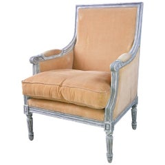 French Louis XVI Style Painted Bergere Armchair
