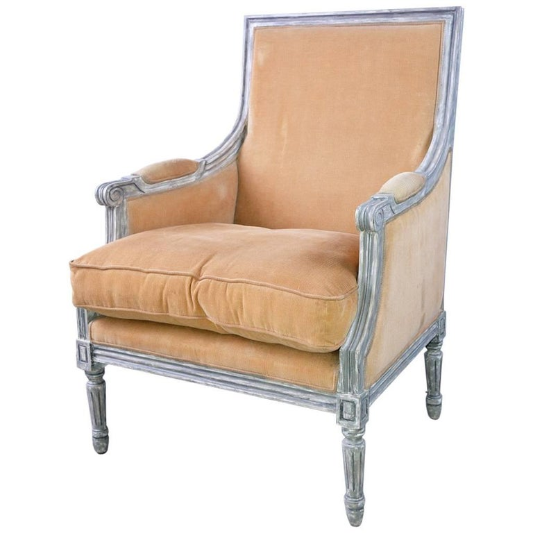 French Louis XVI Style Painted Bergere Armchair For Sale