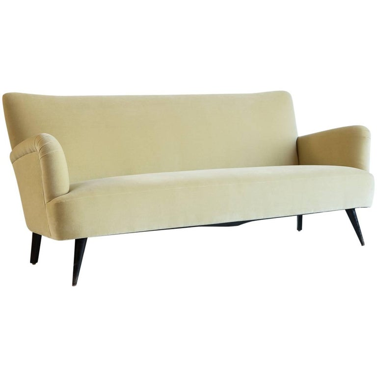French Velvet Sofa Newly Upholstered in Velvet