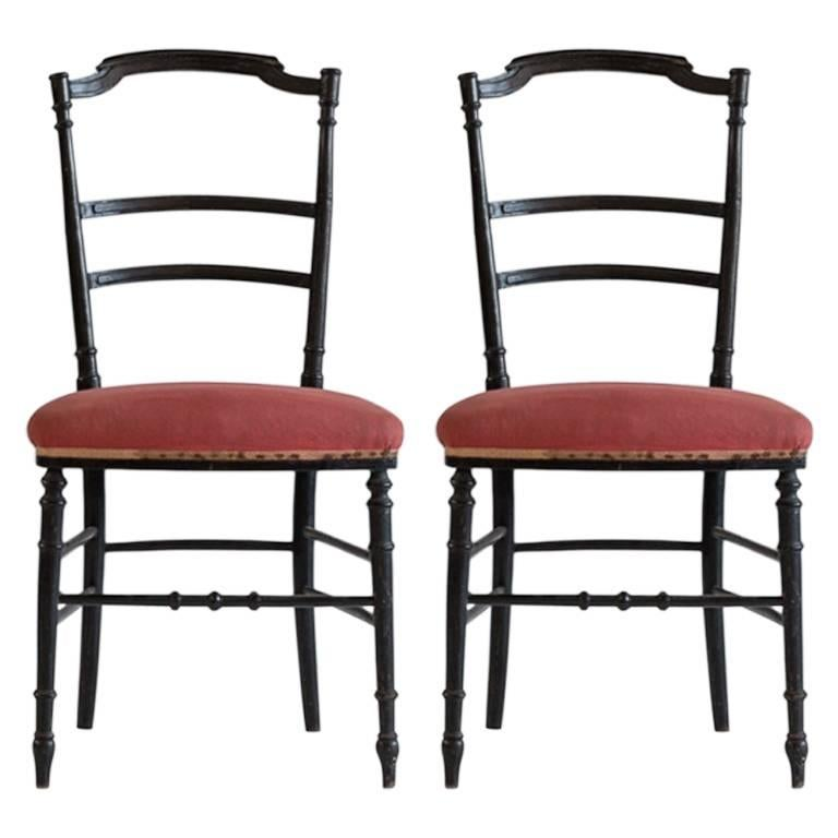 French Chiavari Black Framed Petite Side Chairs