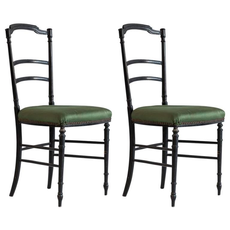 French Chiavari Black Framed Chair Upholstered in Original Green Fabric For Sale