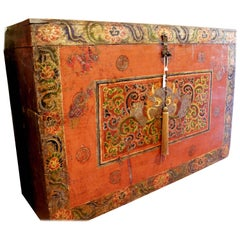 Tibetan Monastery Gam Wood Trunk 18th Century Dragon Red Orange Casegood
