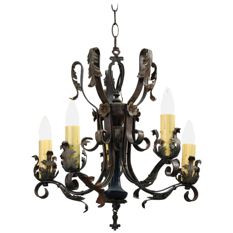 Spanish Revival Chandelier with Acanthus Leaf Motif