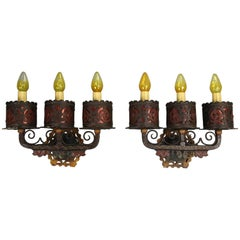 Pair of Ornate Wrought Iron 1920 Sconces Attributed to Oscar Bach