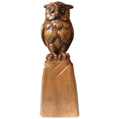 Stylish Carved Wooden Owl Sculpture Symbol of Wisdom and Learning with Signature