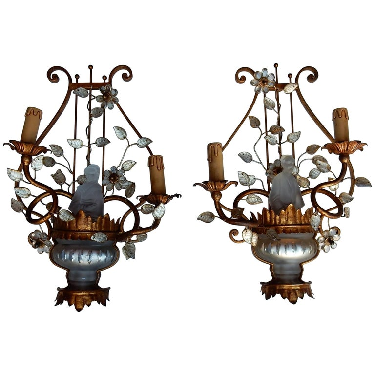 1970 Pair of Wall Lamp Deco Chinese in the Style of Maison Baguès