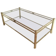 Brass Coffee Table with Two Clear Glass Shelves
