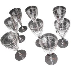 Antique Wine Glasses, Deeply Etched, Pied Piper Pattern by Heisey